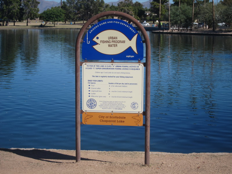 The sign explaining urban fishing