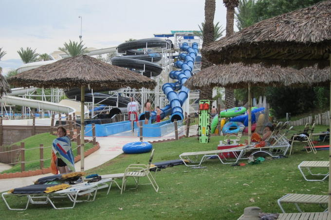 A side view of the slides at Big Surf Waterpark.