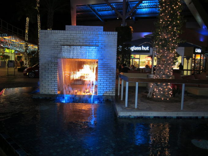 A fountain and a fireplace