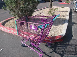 A shopping cart at the 99 Cent Only Store